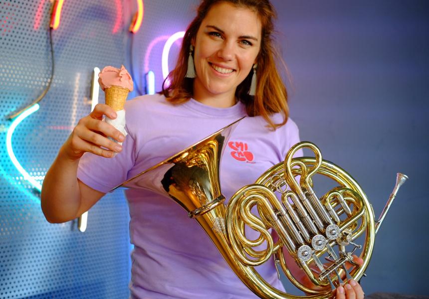 WASO musician Julia Brooke at Chicho Gelato.