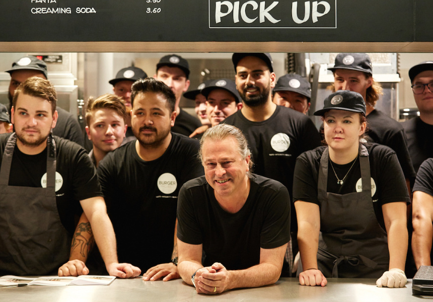 Neil Perry with the team at Burger Project