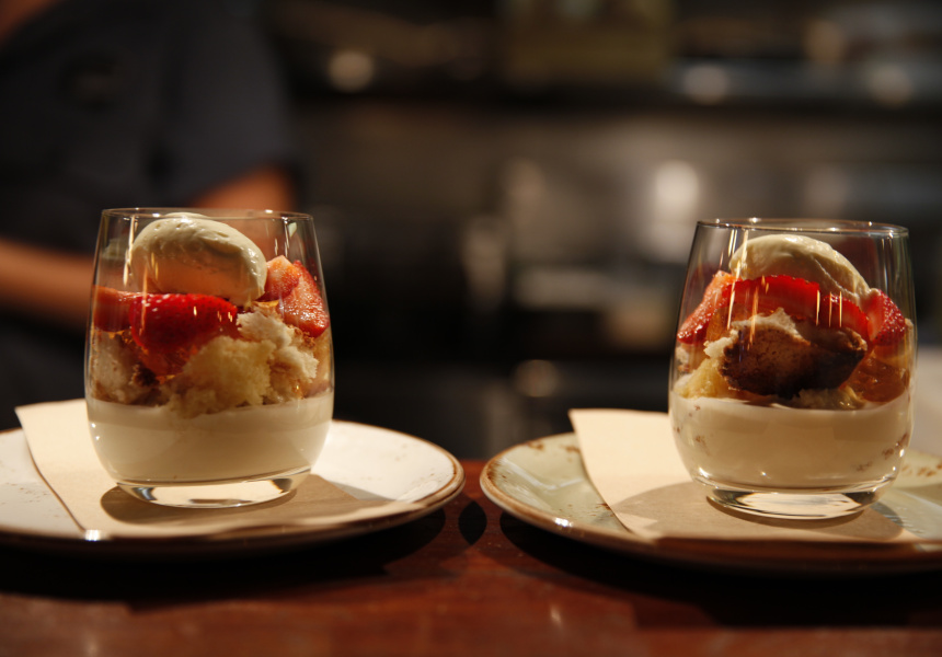 Bloodwood's Trifle of Strawberry, Champagne Anglaise, Port Wine Jelly and Yoghurt Mascarpone