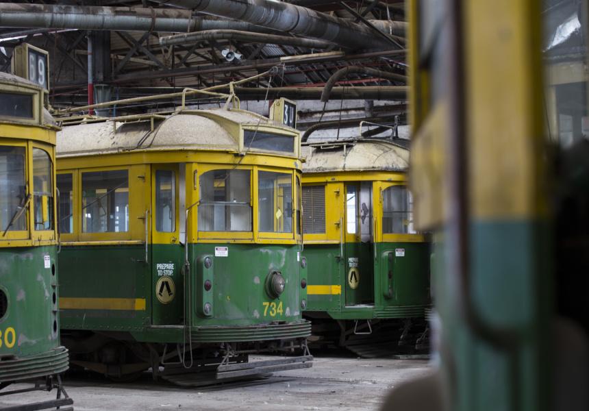 Trams in the Newport Depot