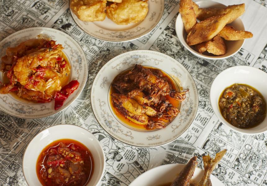 Udang balado (hot and spicy prawns), tahu isi (fried tofu) and sambal cumi (chilli squid) with sambal merah (red chilli sauce) and sambal ijo (green chilli sauce)