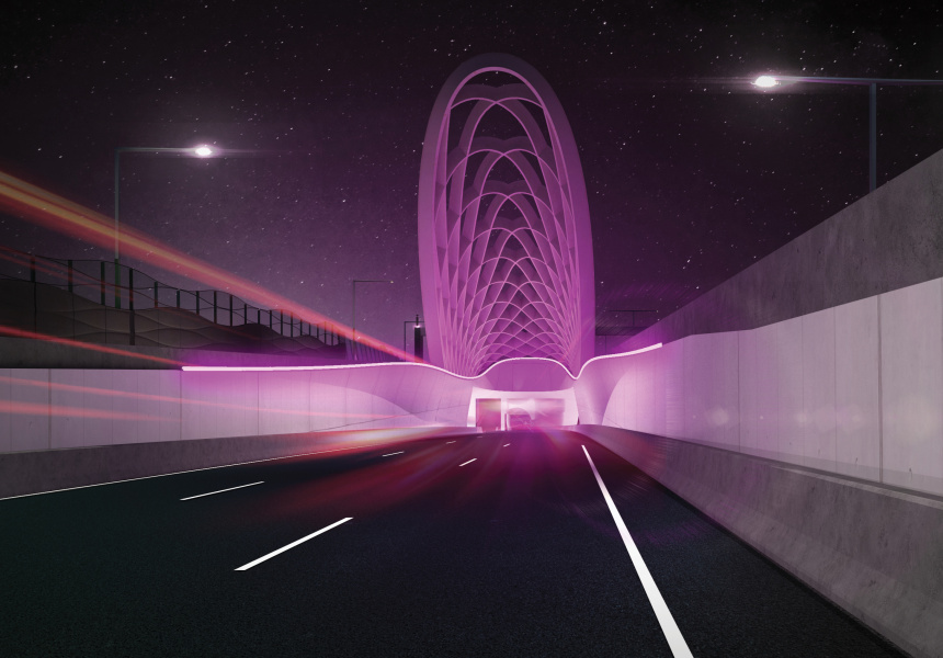 Artists impression of the inbound tunnel entrance.