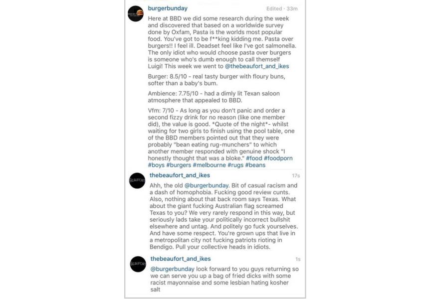 Burger BunDay's original Instagram post, and Dave Kerr's response.