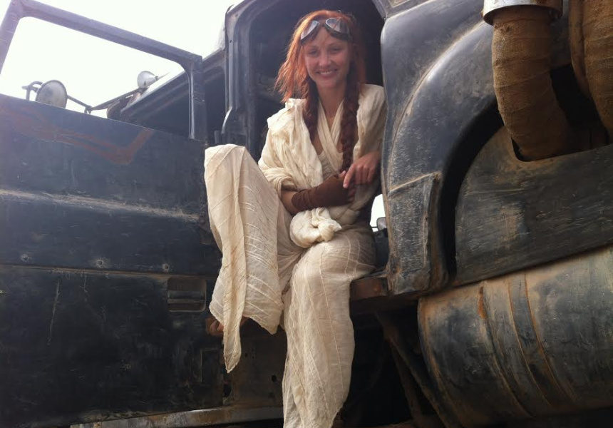 On board the Mad Max Fury Road train. Doubling Riley Keough in Namibia, Africa.
