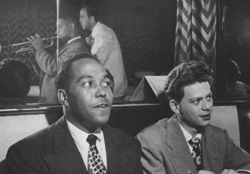 Charles Yardbird Parker and Robert Red Rodney watch Dizzy Gillespy