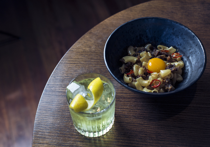 ACME's pig's head and egg-yolk macaroni coupled with a white Negroni.