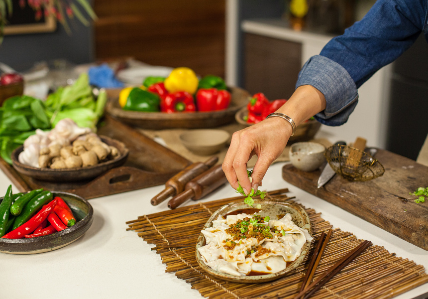 Kylie Kwong cooks her prawn dumplings with ginger and coriander meal kit.