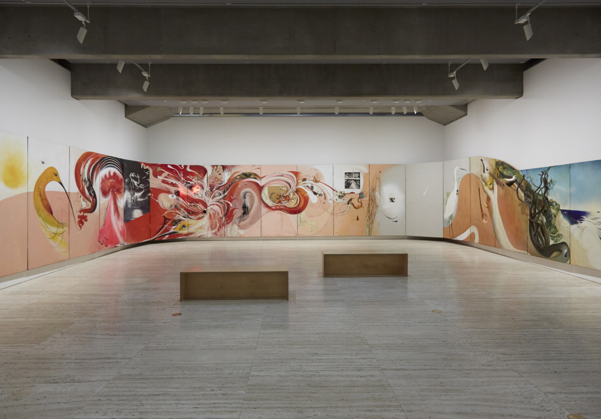 A general view of the Pop to popism exhibition at the Art Gallery of New South Wales featuring Brett Whiteley The American Dream 1968–69.