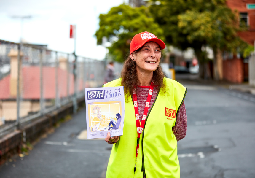 Rachel from Pyrmont selling The Big Issue