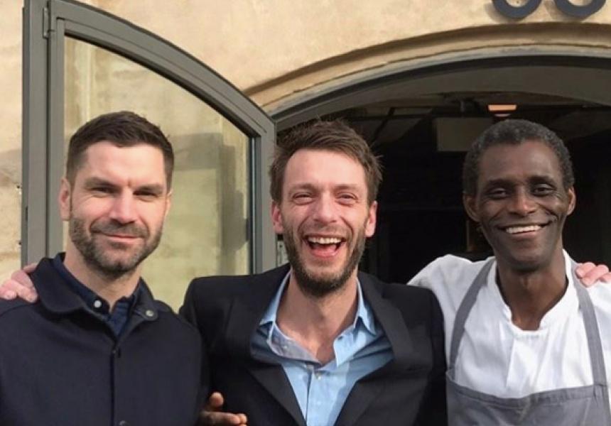 Left to right:  restaurant manager James Spreadbury, service director Lau Richter and dishwasher Ali Sonko, via Facebook / Rene Redzepi