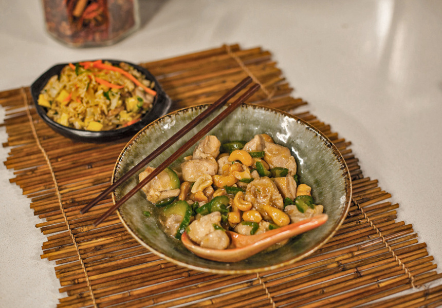 Kylie Kwong's Stir-fried chicken fillets with cashews.