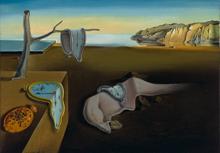"Salvador  Dalí  (Spanish,  1904–1989). The Persistence of  Memory, 1931. Oil on canvas 9 1/2 x 13"" (24.1 x 33 cm). The Museum of Modern Art, New York. Given anonymously. © 2016 Salvador Dalí, Gala-Salvador Dalí Foundation / Artists Rights Society (ARS), New York"