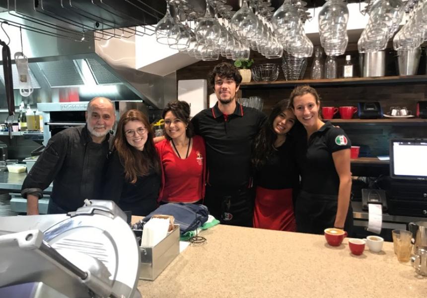 Mandy Rovacchi (C) with Bar Reggio staff