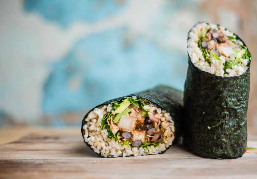 The East Meets Mex sushi burrito.