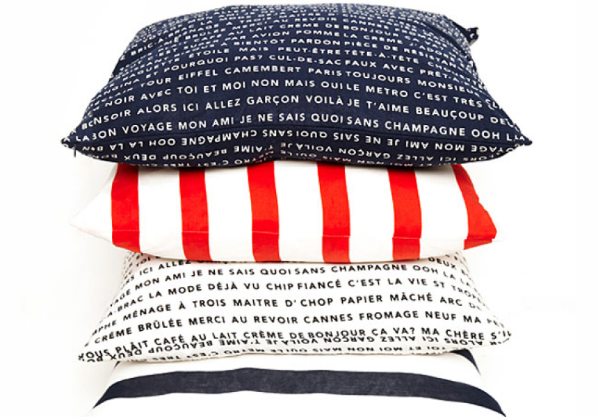 French Words cushions