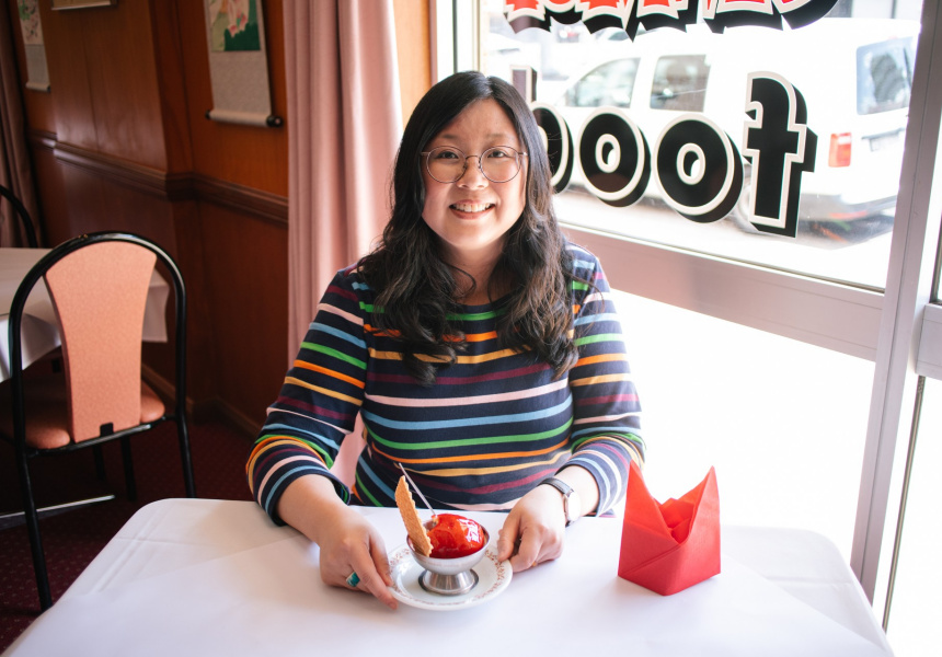 Host Jennifer Wong for ABC's Chopsticks or Fork? with the deep-fried ice-cream from New Bo Wa, Moree