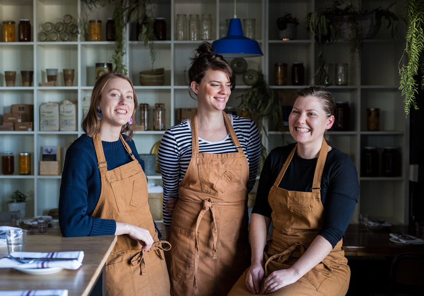Manager Taylor Peplow Ball, owner Jessie Spiby and chef Jodie Zerna
