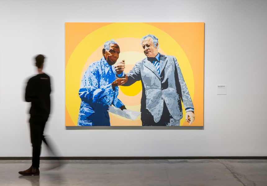 Richard Bell, Vincent an' Gough (From Little Things Good Things Grow),2017, installation view, You Can Go Now, Museum of Contemporary Art Australia