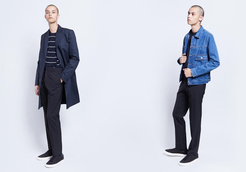 Left: Filippa K Jacket, Ami Stripe Knit, Filippa K Pants, Common Projects Sneakers  Right: Paul Smith Denim Jacket, Saturdays NYC T-Shirt, Filippa K Pants, Common Projects Sneakers