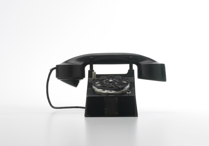 'Bauhaus' Telephone. Designed by Marcel Breuer and Richard Schadewell, made by Fuld & Co / Telephonbau & Normazeit GmbH, Germany, 1928.