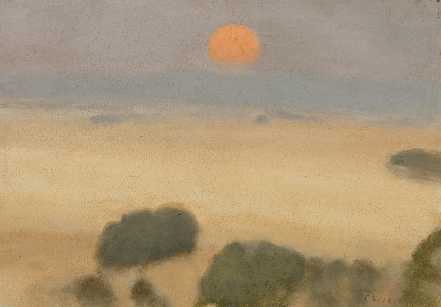 Clarice Beckett, Australia, 1887–1935 Summer fields, 1926, Naringal, Western District, Victoria, oil on board Gift of Alastair Hunter OAM and the late Tom Hunter in memory of Elizabeth through the Art Gallery of South Australia Foundation 2019 Art Gallery of South Australia, Adelaide
