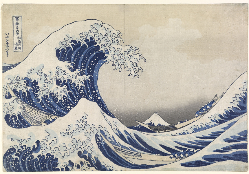 Japanese 1760–1849 The great wave off Kanagawa (The great wave) (Kanagawa oki namiura) (1830–34) from the Thirty-six views of Mt Fuji (Fugaku-sanju?-rokkei) series colour woodblock 25.7 × 37.7 cm (image and sheet) National Gallery of Victoria, Melbourne Felton Bequest, 1909 (426-2)