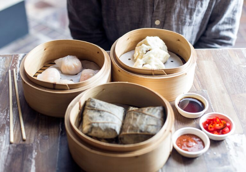 Har gau, barbeque pork buns, Sticky rice roll with mushrooms and diced pork - Hong Kong Diner