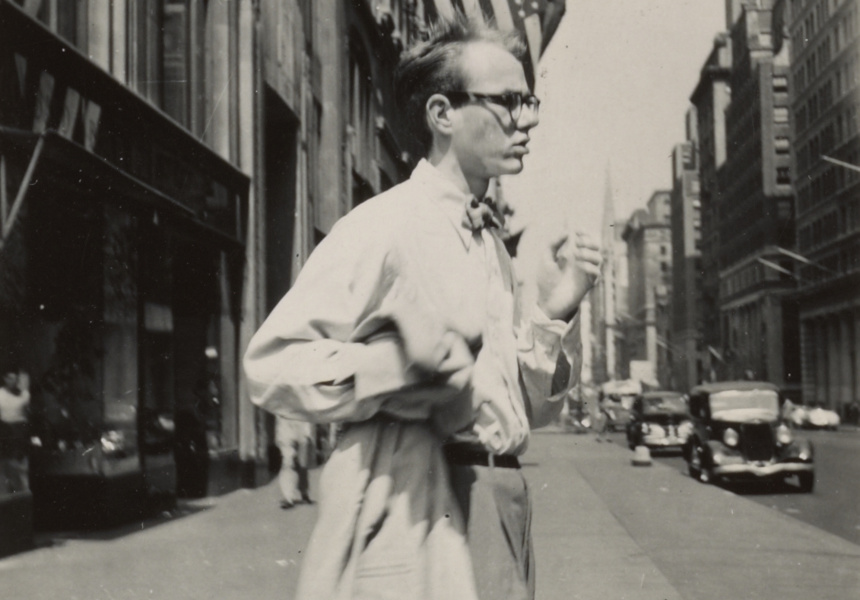 Philip Pearlstein Andy Warhol in New York City c1949 Black and white photograph Archives of American Art. Smithsonian Institution. Used by permission.