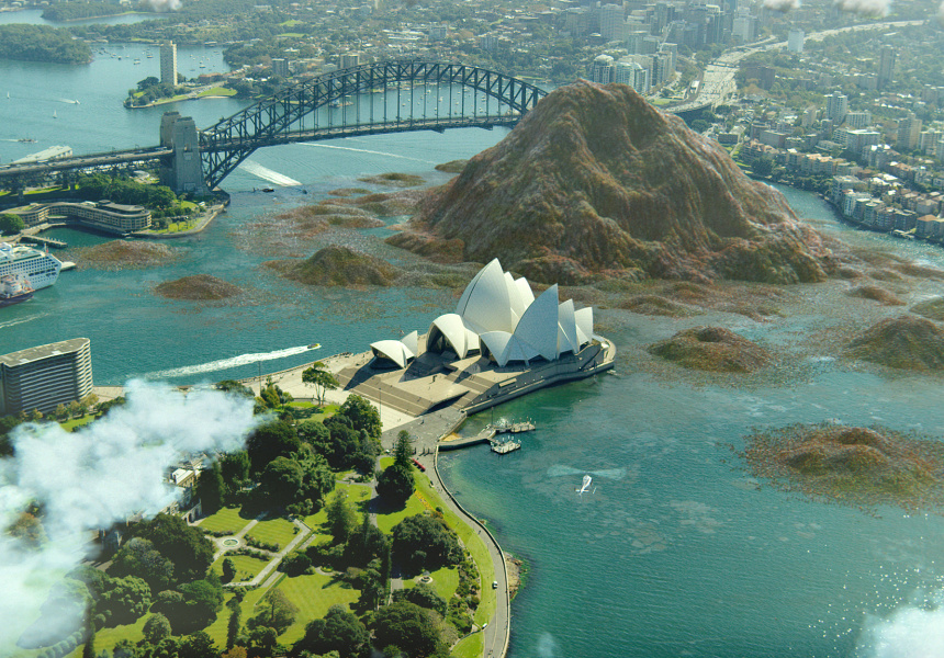 CGI of $20 billion of food waste in Sydney Harbour