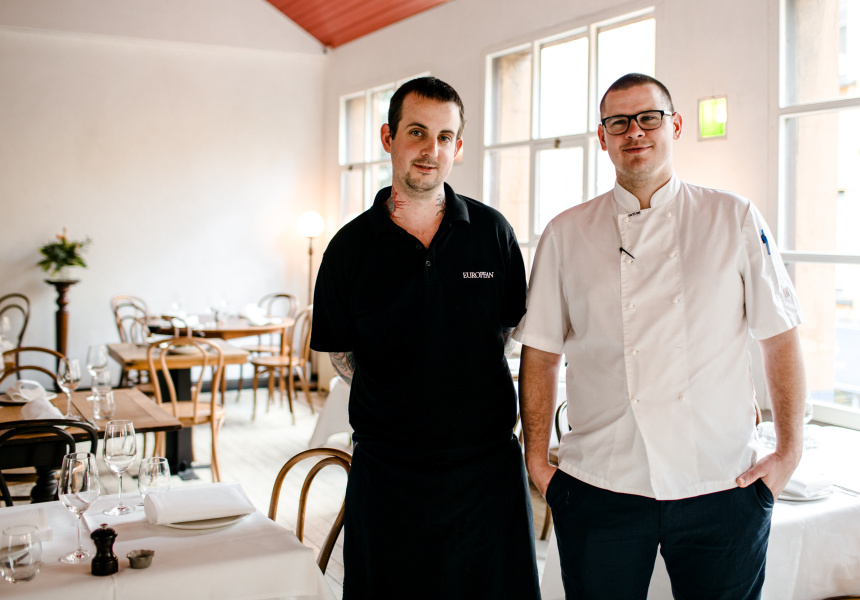 Simon Poole, the butcher for The European Group (left) and The French Saloon's Todd Moses.