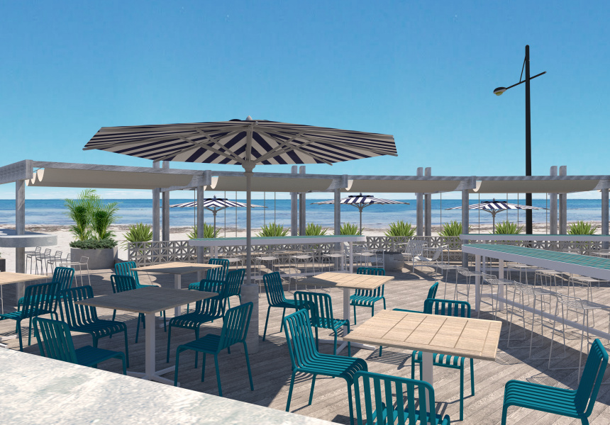 Architect's render of Sebastian Beach Bar and Grill