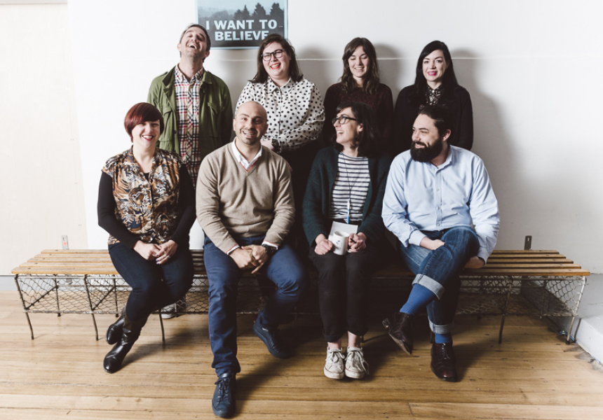 From back row, left to right: Max Olijnyk, Brodie Lancaster, Meredith Forrester, Melissa Ross, Kelly Jack, Francesco Nazzari, Penny Modra, Kane Daniel