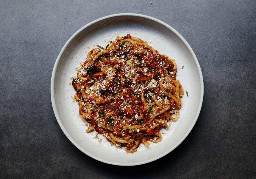Pici, sausage ragu, salted ricotta