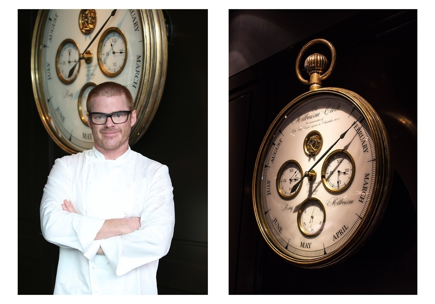 Left: Heston Blumenthal Right: The Fat Duck Melbourne Clock