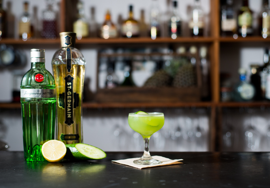 Dean Simpson's Cucumber Gimlet with fresh lime.