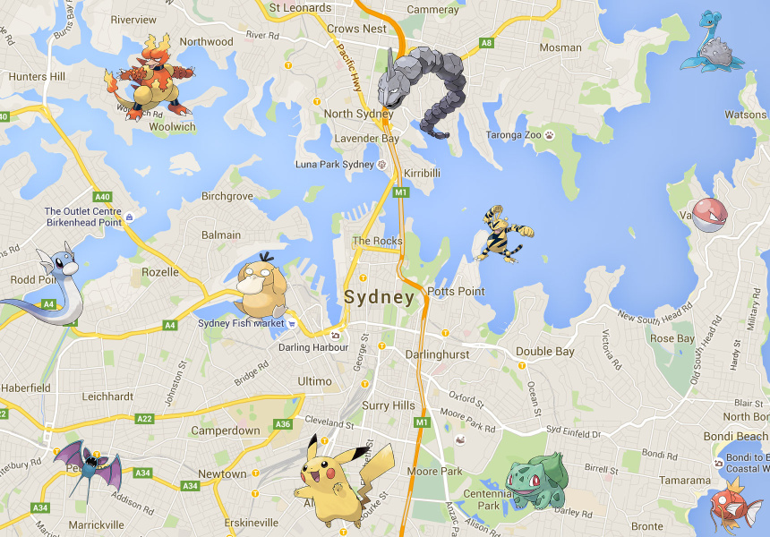 These Maps Show Exactly Where To Find Pokémon In Sydney Broadsheet - Japan map pokemon go