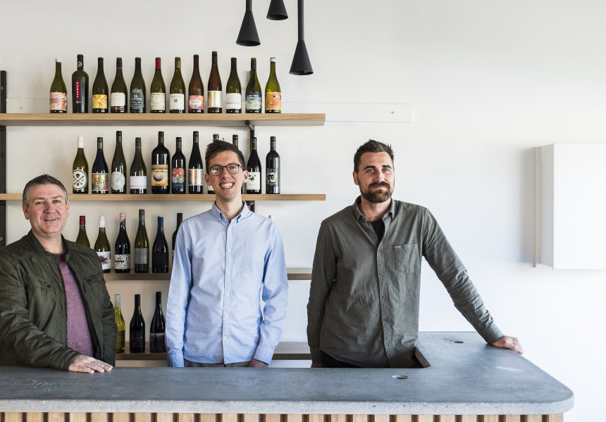 Paul Heatley, Chris Ford and Peter Baker of Commune Wine Store