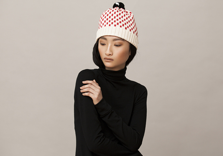Beanie by ALL Knitwear from Dagmar Rousset. Dress by Michael Lo Sordo from Alice Euphemia.