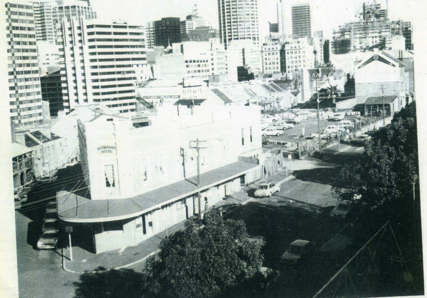 Australian Hotel & Cumberland St Dig Site prior to excavation, 1972