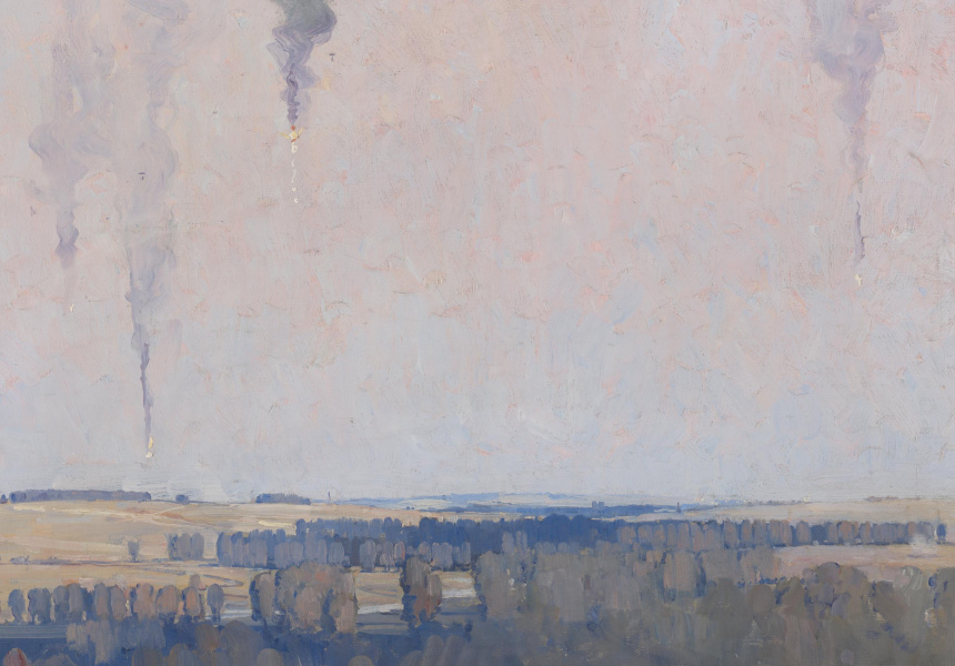 Arthur Streeton, Balloons on fire, 1918 oil on canvas, 63.4 x 76.2 cm National Gallery of Victoria, Melbourne, Gilbee Bequest, 1918 960-35841