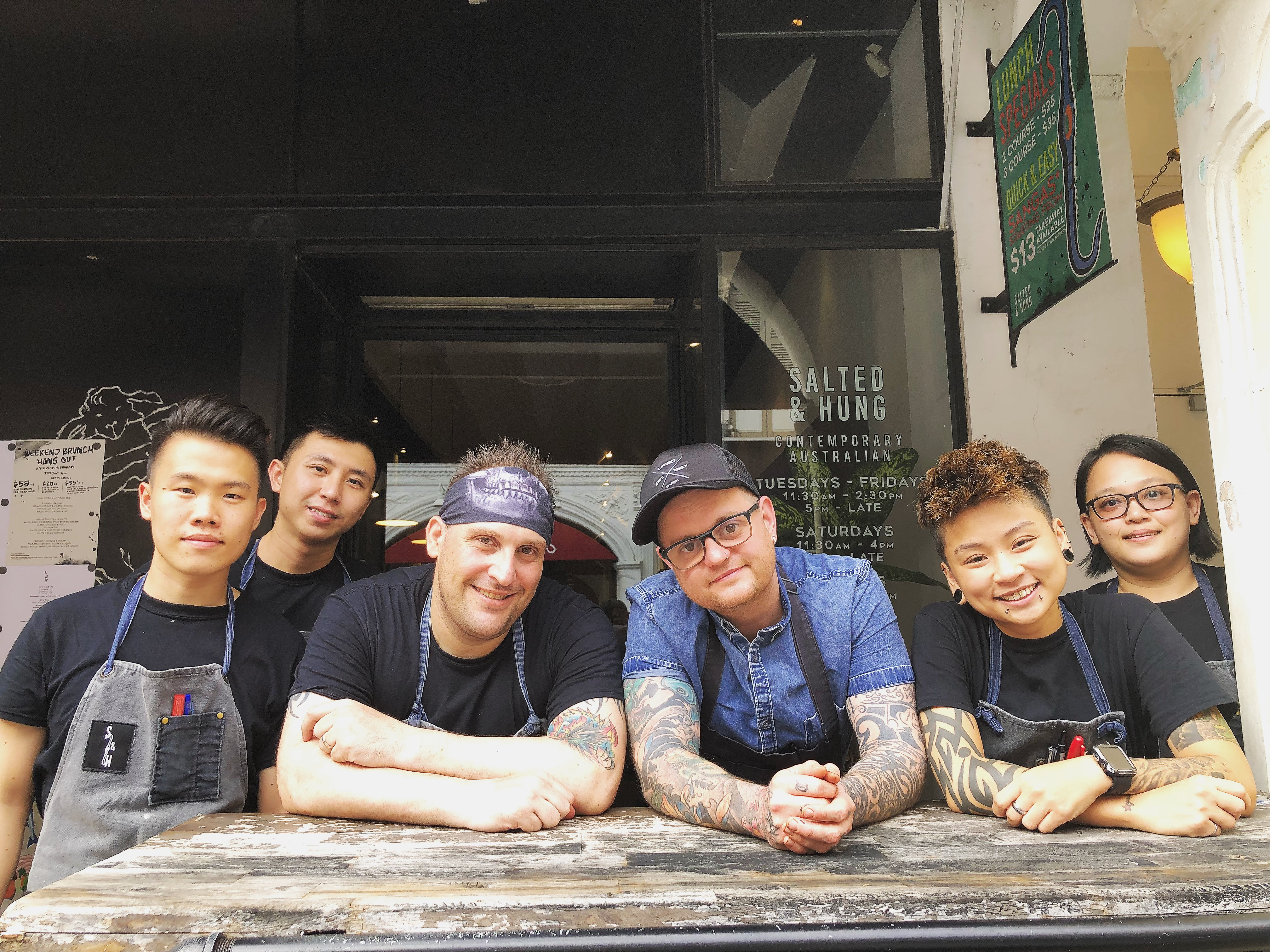 Drew Nocente, Adam Liston and staff at Salted & Hung