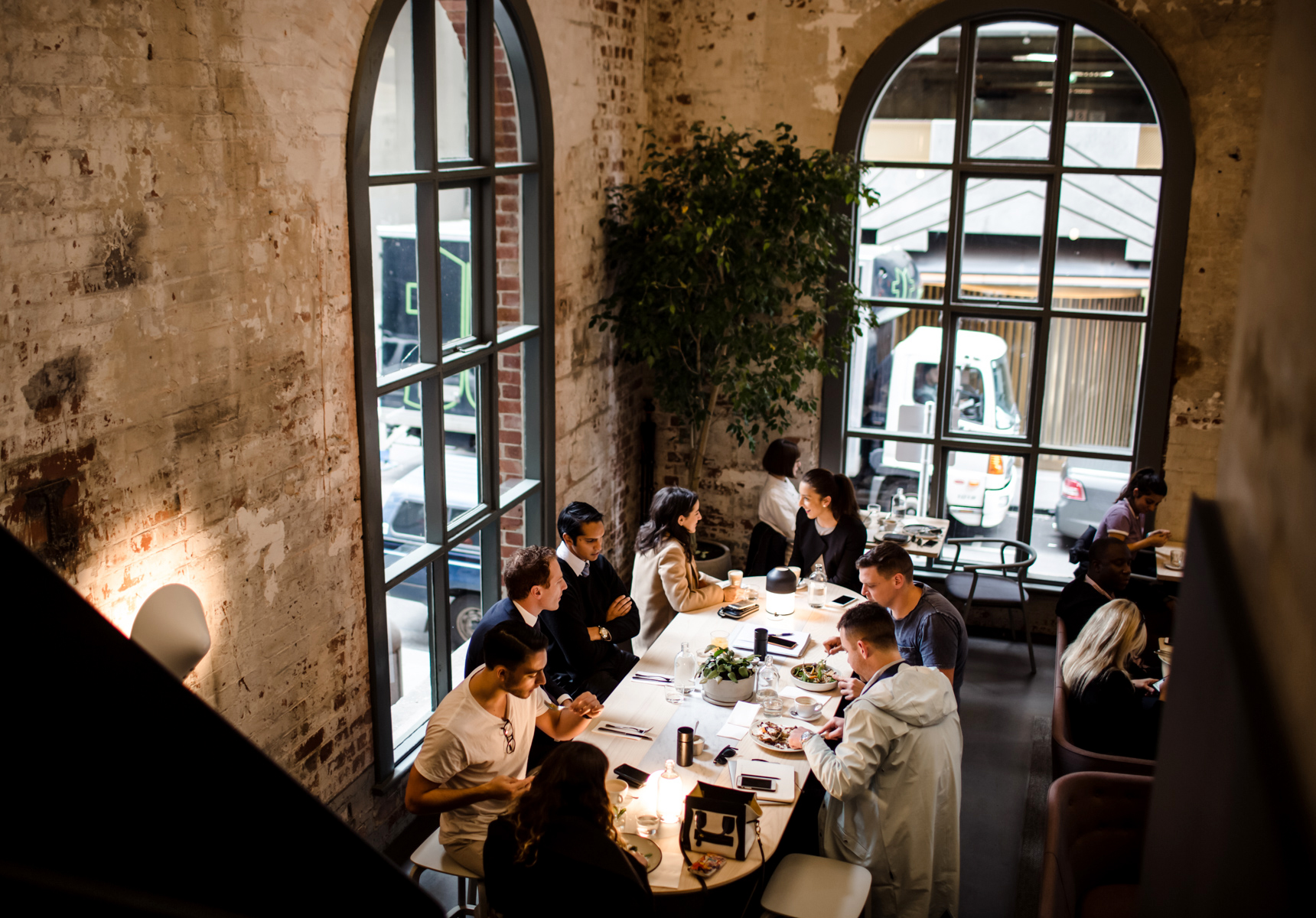 One-of-a-kind cafe Higher Ground, set in a former power station with 15-metre-high ceilings   Photography by Gareth Sobey