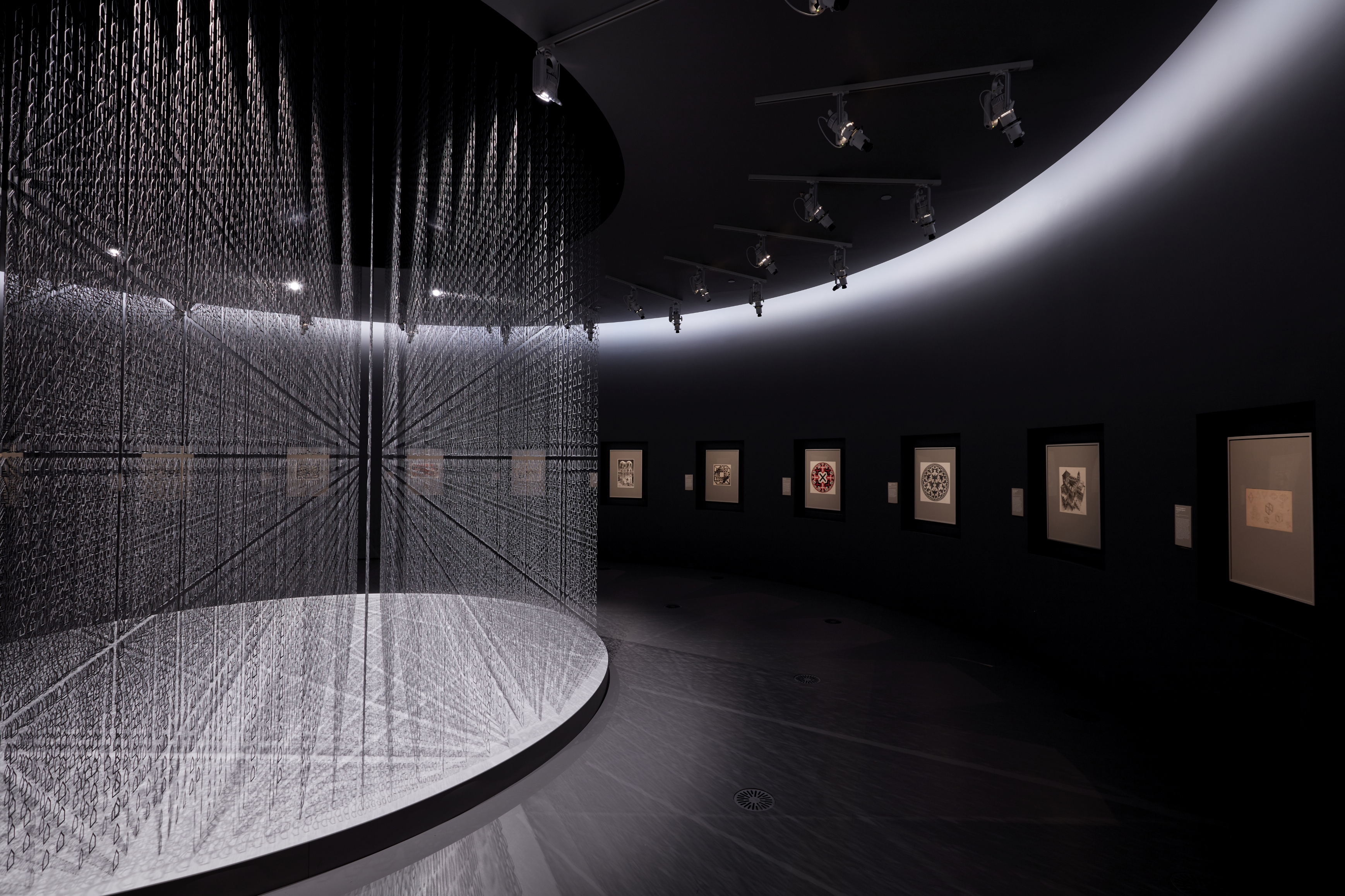 Installation view of Gathered House in Escher x nendo | Between Two Worlds exhibition space at NGV International running from 2 December 2018 – 7 April 2019