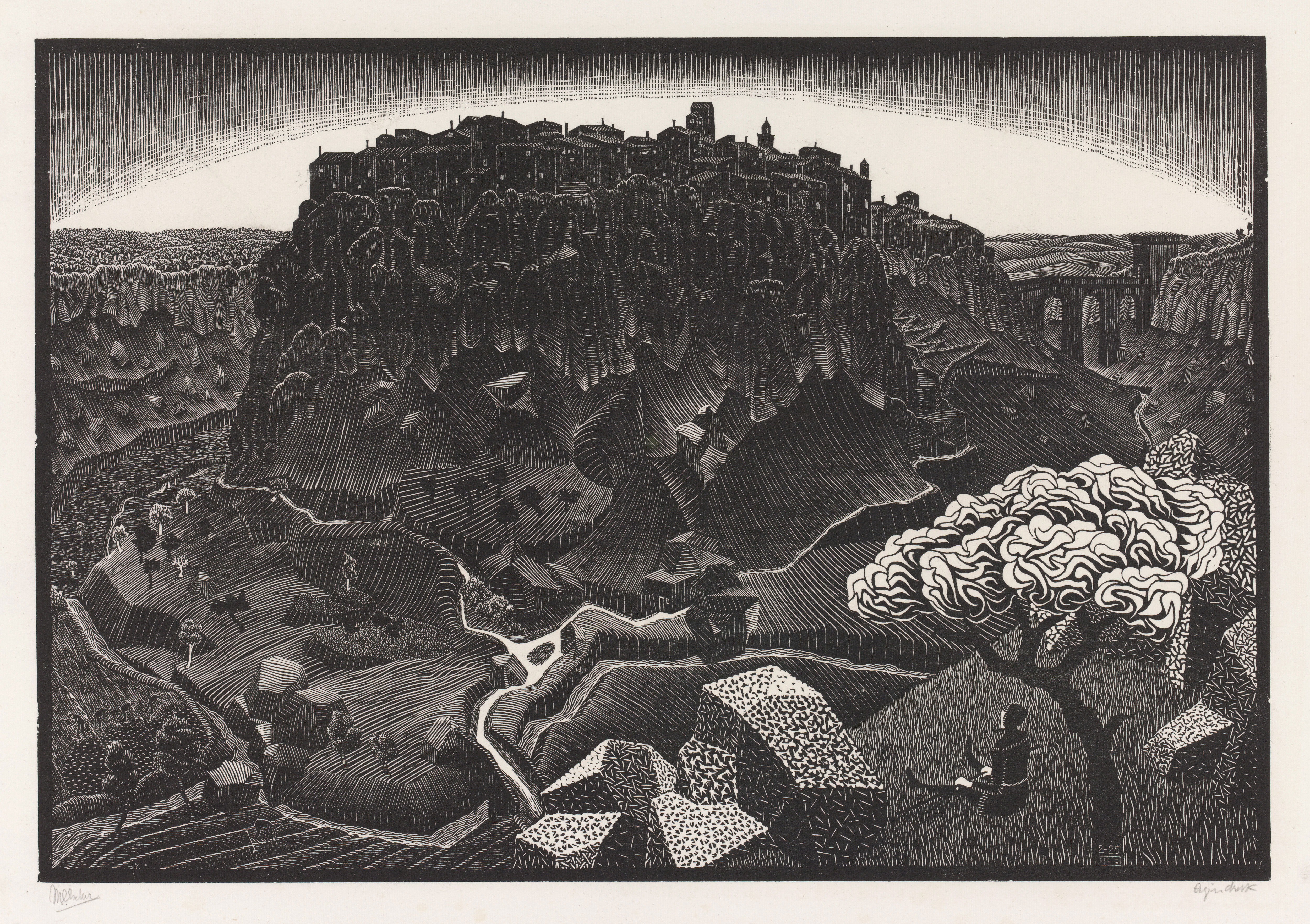 M. C. Escher Vitorchiano nel Cimino February 1925 woodcut Escher Collection, Gemeentemuseum Den Haag, The Hague, the Netherlands © The M. C. Escher Company, the Netherlands. All rights reserved