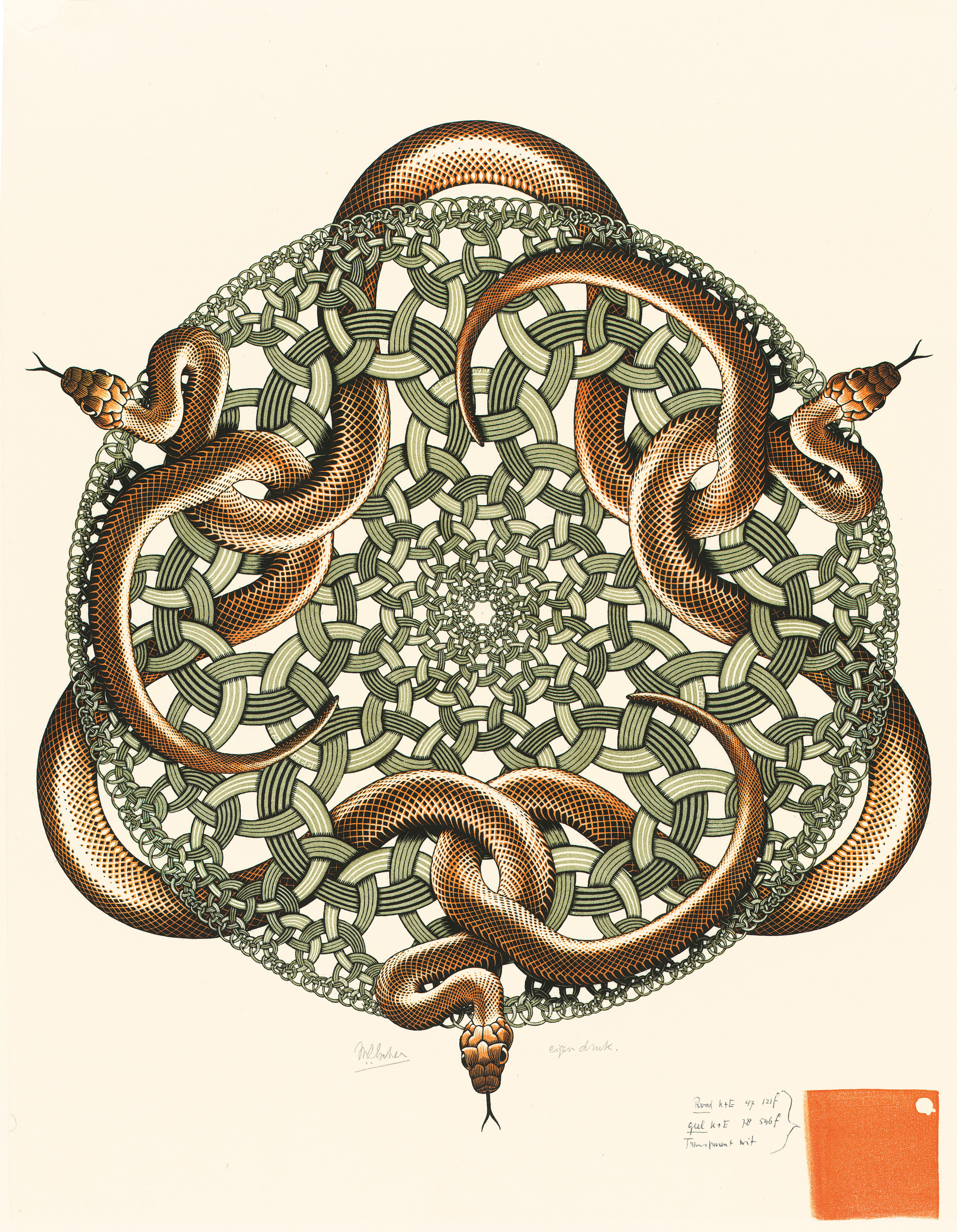 M. C. Escher Snakes July 1969 colour woodcut Escher Collection, Gemeentemuseum Den Haag, The Hague, the Netherlands © The M. C. Escher Company, the Netherlands. All rights reserved