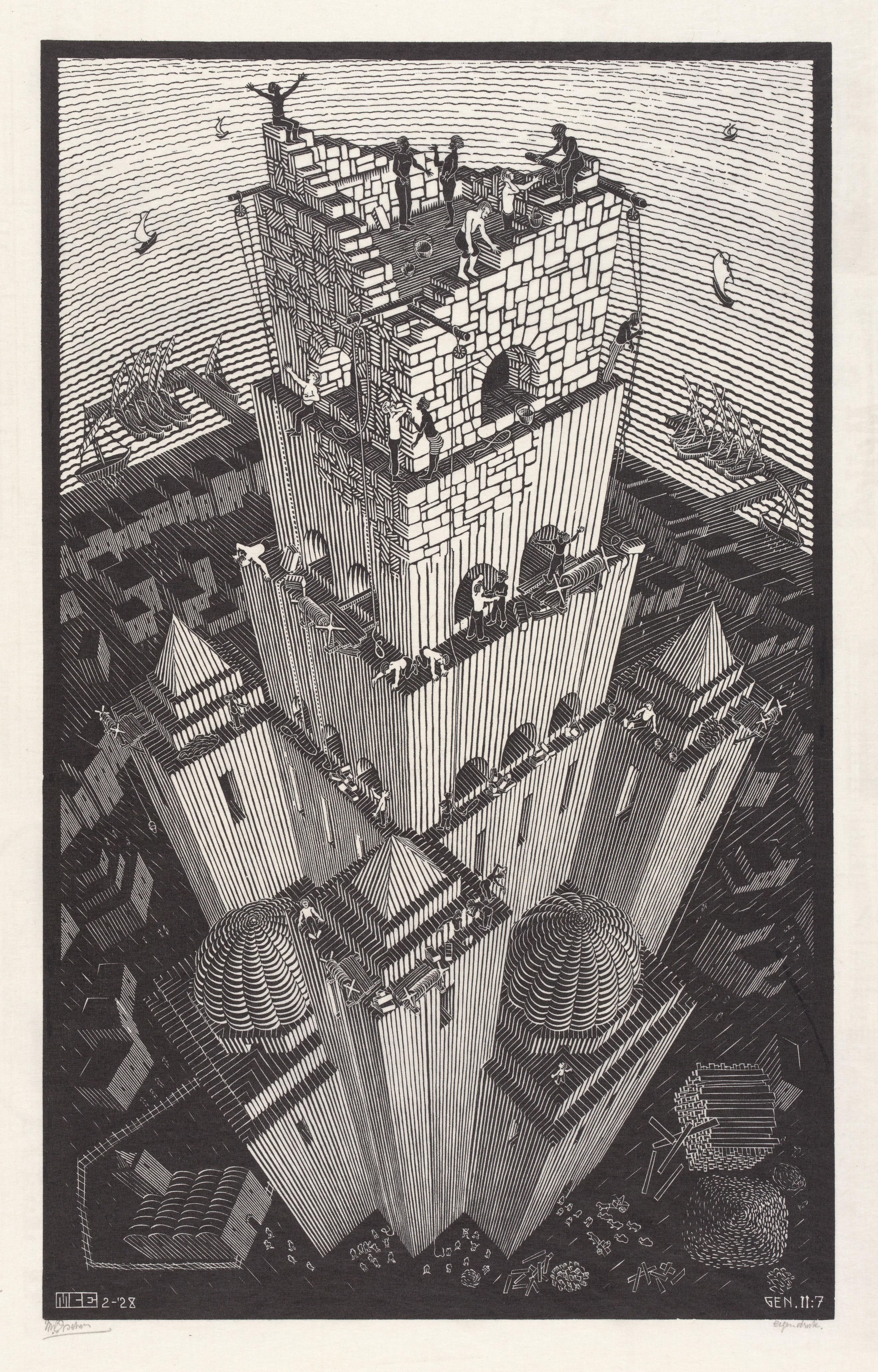 M. C. Escher Tower of Babel February 1928 woodcut Escher Collection, Gemeentemuseum Den Haag, The Hague, the Netherlands © The M. C. Escher Company, the Netherlands. All rights reserved