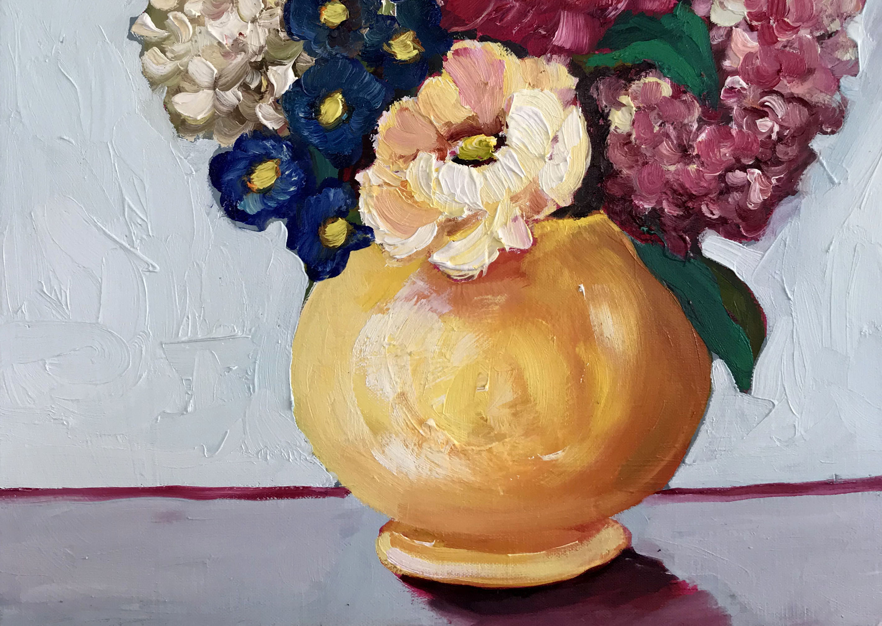 Ali Wood, Yellow Jug and Mixed Bloom, oil on board, white box frame, 51x41
