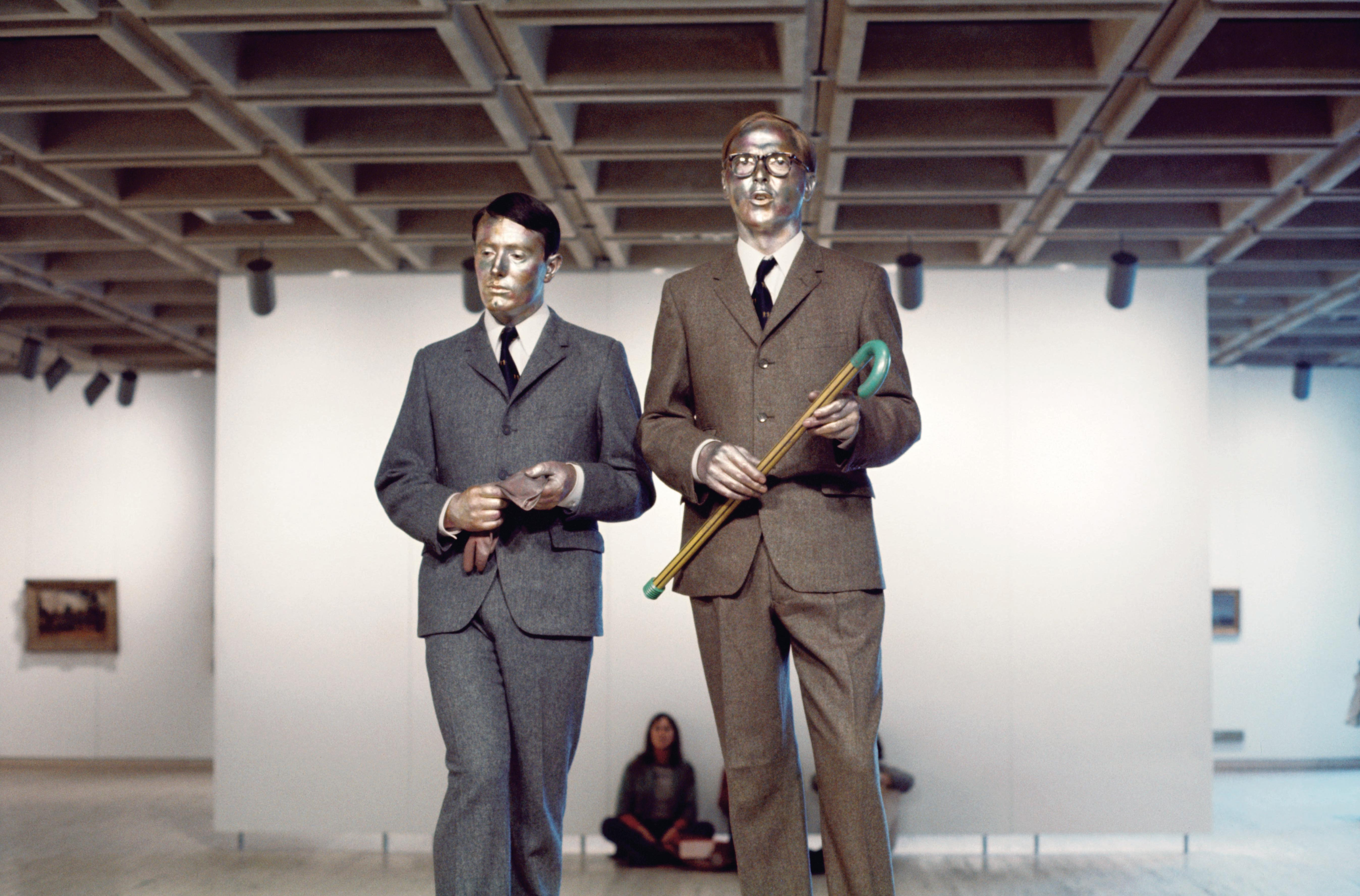 "Kaldor Public Art Project 3: Gilbert & George ""The Singing Sculpture"", Art Gallery of New South Wales, Sydney, 16–21 August 1973 © Gilbert & George. Courtesy Art Gallery of New South Wales."