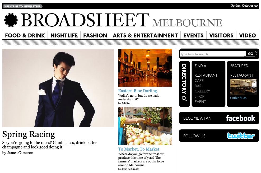 broadsheet.com.au as it appeared in October 2009.